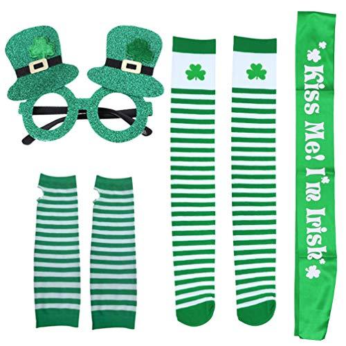 Amosfun St. Patricks Day Party Favor Set Inklusive Brillensocken Handschuhe Schultergürtel Partyzubehör