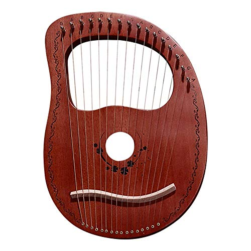 Arpa de 16 Cuerdas de Caoba portátil Tallada a Mano Griega nicho Instrumento Lira Arpa Arpa, marrón