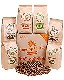 Zorestar Smoker Pellets Variety Pack - 100% All-Natural Wood Smoking Pellet - Set of 6 Packs - Oak, Maple, Apple, Peach, Alder, Cherry Wood pellets