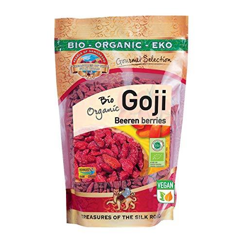 Getrocknete Bio Goji Beeren – Extra groß, ungeschwefelt und ungesüßt – Sonnengetrocknet – Rohkost – 500g