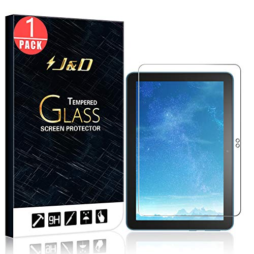J&D Compatible for Amazon All-New Fire HD 8 Plus 2020/Amazon All-New Fire HD 8 2020 (1-Pack), Not Full Coverage, Tempered Glass HD Clear Ballistic Glass Screen Protector