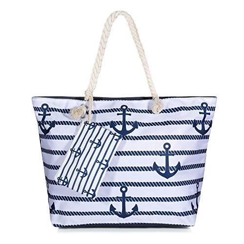 Vordas Bolsa de Playa de Lona Mujer Grande, Bolsa de Playa Grande con Cremallera para Mujeres y Niñas - Style 16