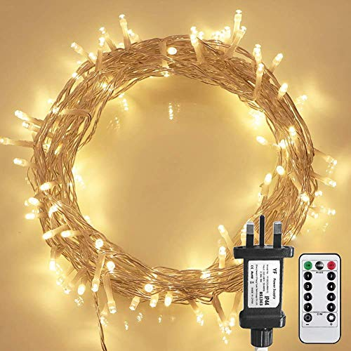 [Remote Control] STARKER Warm White Fairy Lights Plug in, 10m 100LED Indoor Christmas Lights with Timer (8 Modes, Dimmable,Clear Cable, Low Voltage Plug) for Garden, Bedroom, Festival Decoration