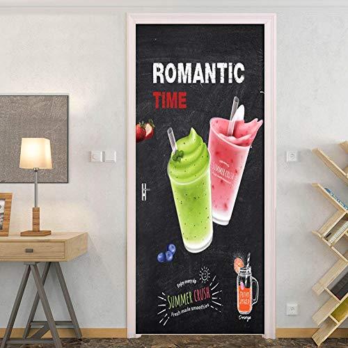 DIOPN, PVC, waterdicht, zelfklevende deurstickers, persoonlijke sap, koude drank, behang, woonkamer, slaapkamer, deur, decor, muursticker, wandafbeelding, 77 x 200 cm