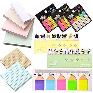RETON Conjunto de 12 Notas Adhesivas – 4 x Notas de Color Liso, 2 x Notas Alineadas, 3 x Etiquetas de Índice…