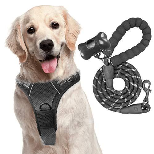 MerryBIY Hunde Geschirr, No Pull Hundegeschirr Brustgeschirr Einstellbar Weich Gepolsterter Sicher Kontrolle Vest Reflektierendes Verstellbares Welpen Brustgurt für Hundetraining