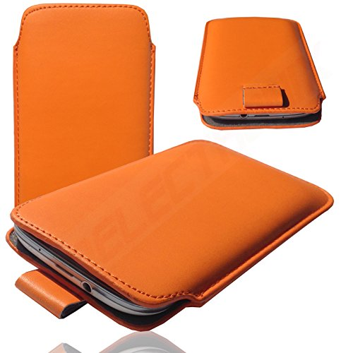 MOELECTRONIX 1A ORANGE Slim Cover Hülle Schutz Hülle Pull UP Etui Smartphone Tasche passend für HiSense HS-U988