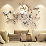 Alicemall 3D Wall Sticker Adesivo da Parete Fiore di Specchio Arte Divano Murale Decorativo Acrilico Decorazione della Casa Argento 120 x 90 cm