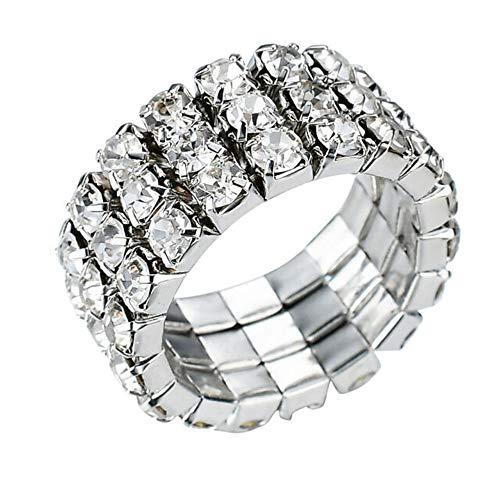 WTZ - New Sparkling 3 Row Rhinestone Stretch Ring