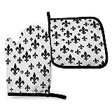 Foruidea - Juego de manoplas y soportes para horno (2 unidades), color blanco y negro