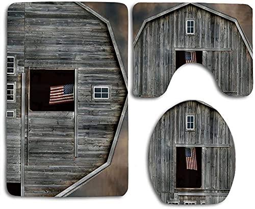 American Flag on The Window Bathroom Rug Mats Set 3 Piece Bath Mat Contour Mat and Lid Cover Bathroom Doormats Decor Non Slip