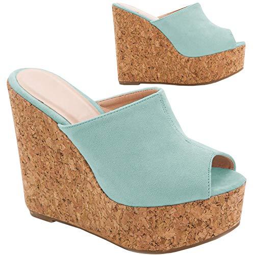 Syktkmx Womens Platform Wedge Sandals High Heel Slip on Peep Toe Cork Mules Slides