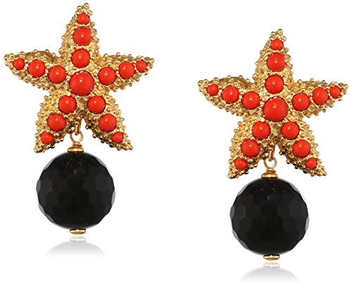 Misis–Boucles d'Oreilles Moorea 925, argent, plaqué or, agate Taille ronde rouge Onyx 4cm–or09169ro