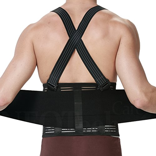 Neotech Care Back Brace with Suspenders for Men - Adjustable - Removable Shoulder Straps - Lumbar Support Belt - Lower Back Pain, Work, Lifting, Exercise, Gym - Black (Size XXL)