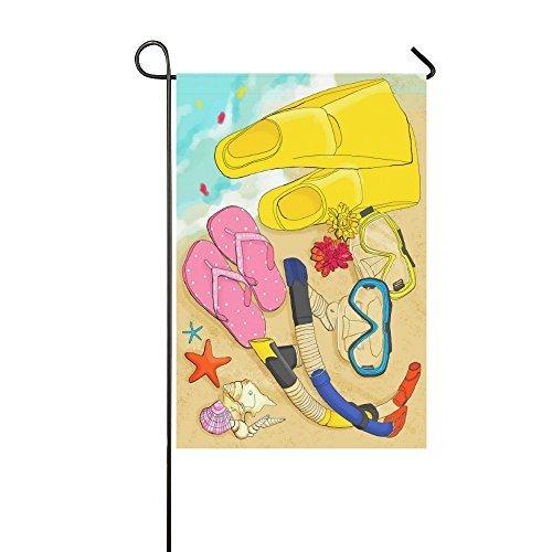 PeteGray Zomer Strand Tijd Snorkel Flip Flops Tuinvlaggen Dubbelzijdig Decoratieve Huis Flgas Yard Vlag Banner Vakantie Vlaggen voor Feest Buiten Decoraties 12 x 18