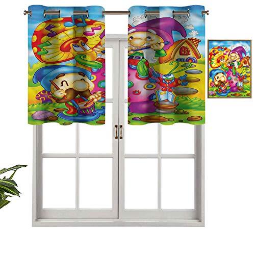 Hiiiman Paneles de cortina con ojales en la parte superior, cenefas de dibujos animados, arte de elfos, juego de 1, 42 x 18 pulgadas, aislamiento térmico para sala de estar