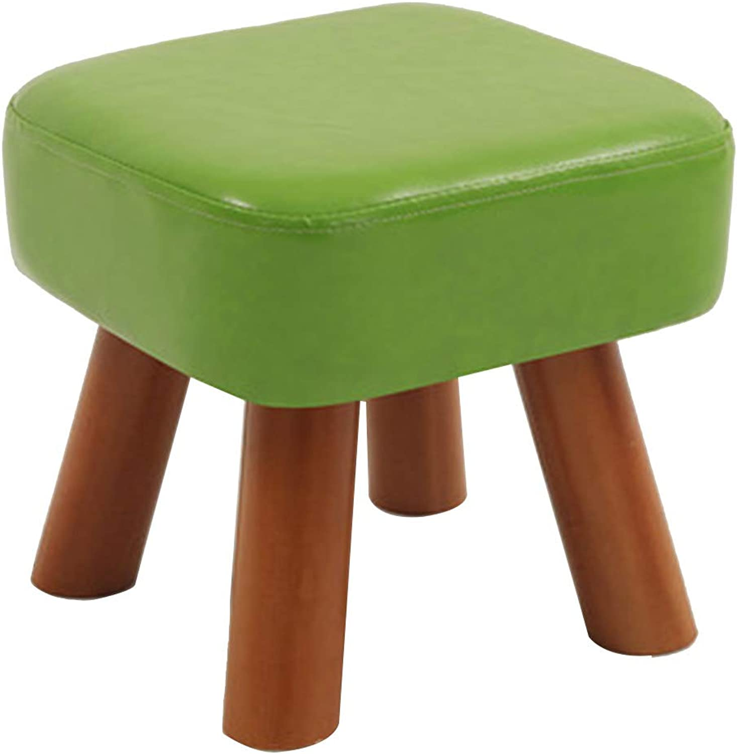 Footstool Simple Faux Leather Stool Multifunction Change shoes Living Room, Pine, 5 colors (color   C)