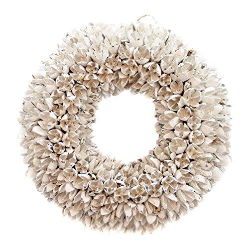 COURONNE Naturkranz Deko Ø30cm in weiß, gefertigt aus Bakuli-Früchten | Türkranz ganzjährig zum hängen oder als Tischdekoration im Shabby chic Design | Zeitloses Wohnaccessoir als Landhaus Natur-Deko