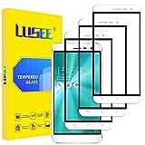 Lusee 3 Piezas Protector de Pantalla para ASUS ZenFone 3 ZE520KL [Cobertura Completa] Cristal Vidrio Templado [Dureza 9H] [Resistente a los arañazos 2.5D Borde Curvo Protector de Pantalla Blanco