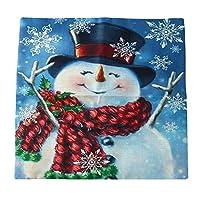 Xin Lei クッションカバー 座布団カバー お部屋 ソファー デコレーション おしゃれ 雪だるまブルー