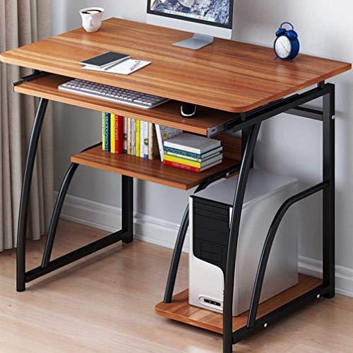 Escritorio con estructura de acero, escritorio para computadora Escritorio moderno para computadora con soporte para teclado Estación de trabajo para PC Mesa de escritura para estudio Muebles de ofici