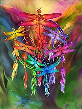 Rovepic 5D Diamond Painting Kits Dragonfly Dream Catcher Round Full Drill DIY Paint with Diamonds Art Color Insect Crystal Rhinestone Cross Stitch for Home Office Wall Crafts Decorations 12×16 Inch
