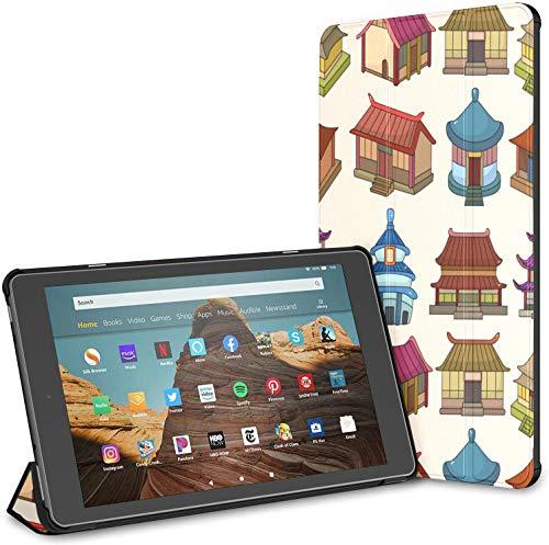Funda para el diseño del edificio del templo Fire Hd 10 Tablet (9ª/7ª generación, 2019/2017) Funda Fire Hd 10 Kindle Fire Hd 10 Tablet Cover Auto Wake/Sleep para Tablet de 10.1 pulgadas