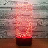 Wfmhra Pretty Bikini Girl 3D Visual Led Night Lights Touch USB 7 Colores Modelling Desk Lamp Home Decor Party Light Fixture Gifts