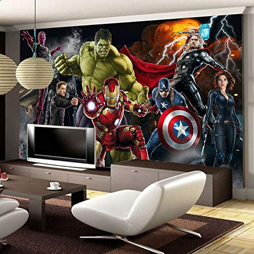 Custom 3d Kids Boys Wallpaper Mural The Avengers Spiderman Iron Man Hulk Capitan America Tv Sofa Living Room Cafe Bar Background