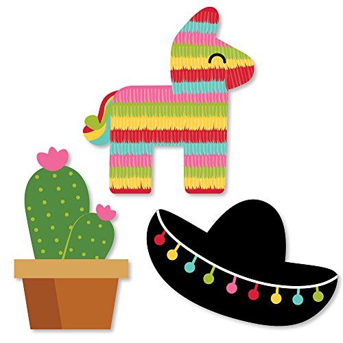 Big Dot of Happiness Let's Fiesta - DIY Shaped Mexican Fiesta Party Cut-Outs - 24 Count (Bulletin Board Ideas For Cinco De Mayo)
