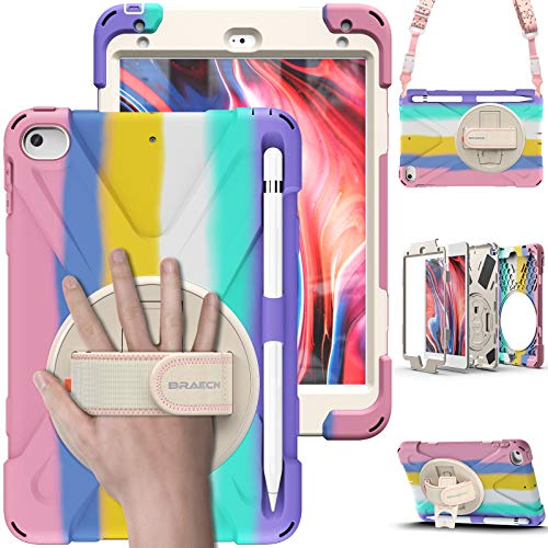 BRAECN iPad Mini Case 5th Generation, iPad Mini 4 Case for Kids, Heavy Duty Protective Rugged Case Cover with Hand Strap, Shoulder Strap, Kickstand, Pencil Holder for iPad Mini 5/4 -Light Rainbow