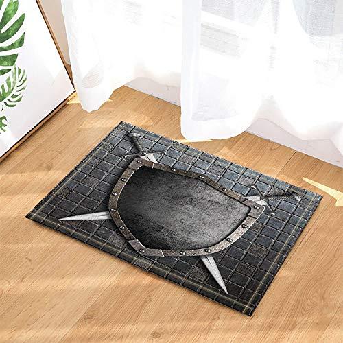 Escudo Medieval de Piedra con Espadas Cruzadas en la Pared de ladrillo La Puerta deentradadelaalfombra delbañoesantideslizante y fácil de Limpiar, 40X60cm,imprescindible para Uso doméstico.