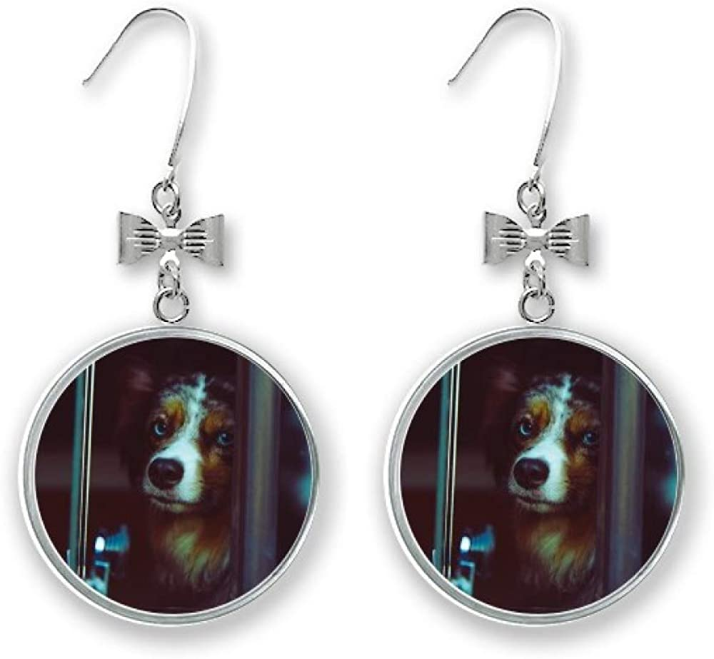 Dog Pet Animal Lonely safety Picture Bow Max 41% OFF Pierced Earrings Hoo Stud Drop
