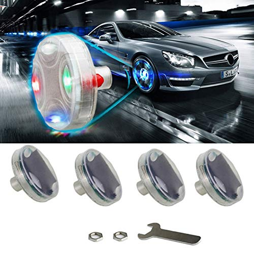 NERLMIAY Car Tire Wheel Lights,Solar Car Wheel Tire Air Valve, Solar hub lamp Cap Light with Motion Sensors Colorful LED, Tire Light Gas Nozzle,for Car Bicycle Motorcycles (4 Pack)