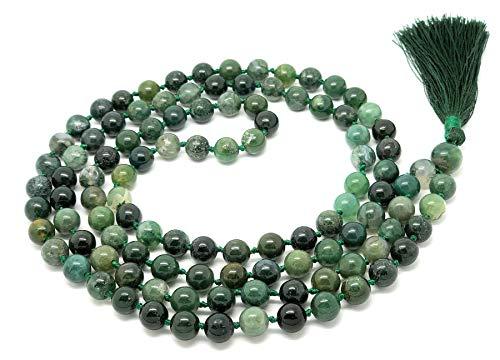 Givereldi pulsera de collar de cuentas de mala ágata de musgo 108 cuentas de 8 mm - con nudos más 1 cuenta de gurú grande - piedra de nacimiento, equilibrio energético, oración, meditación