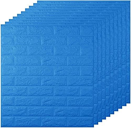 RTSFKFS 3D Papel Tapiz De Ladrillo,Autoadhesivo Pegatinas De Pared De Ladrillo De Imitación,PE De Espuma 3D Wallpaper (70 * 77CM,10 Pcs),Blue-10Pieces