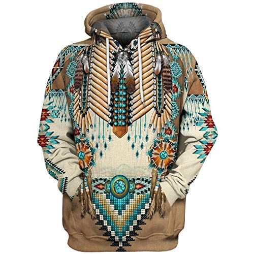 Unbekannt Übergroße 3D Hoodie Männer Retro Ethnic Sweatshirt Tasche DruckHoodie Langarm-Kapuzen Männer Pullover (Color : Coffee, Size : XXL)