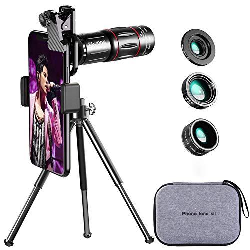 Ancocs 【2020最新型】 4in1 スマホレンズキット 高画質 HD28倍望遠レンズ 0.6倍広角レンズ 20倍マイクロレンズ 200°魚眼レンズ ミニ三脚 収納バック付き スマホ用カメラレンズ iphone XR 11 X XSmax 8 8p