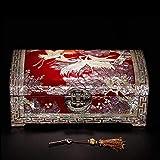 LANL bandeja de laca con incrustaciones de madre en perla Caracol concha caja de joyería con cerradura antigua gran capacidad estilo chino regalo de boda para las mujeres