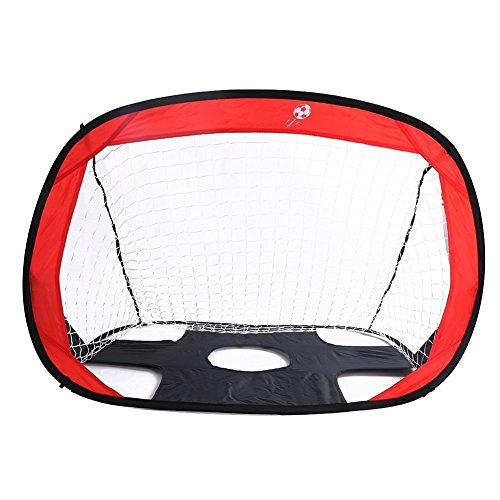 Folding Football Training Net Kicking Door with 4 Iron Bar Fixed to the Ground Mitre 2-in-1 Portable Trainer Pop Up Soccer Sports Goal Target Perfect for Outdoor Sports and Practice