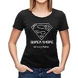 Calledelregalo Regalo para Madres Personalizable: Camiseta 'SuperMadre' Personalizada con el Nombre o Nombres Que tú Quieras (Negro)