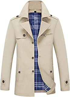 Men's Casual Trench Coat Single Breasted Classic Overcoat Business Jacket Slim Fit
