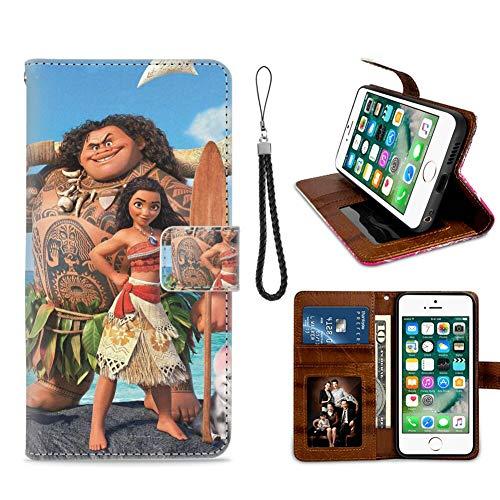 DISNEY COLLECTION Funda tipo cartera para iPhone 7/8/SE2 Disney Moana 2 diseño de patrón titular de tarjeta de crédito cierre magnético Flip Cover función atril Case Keather