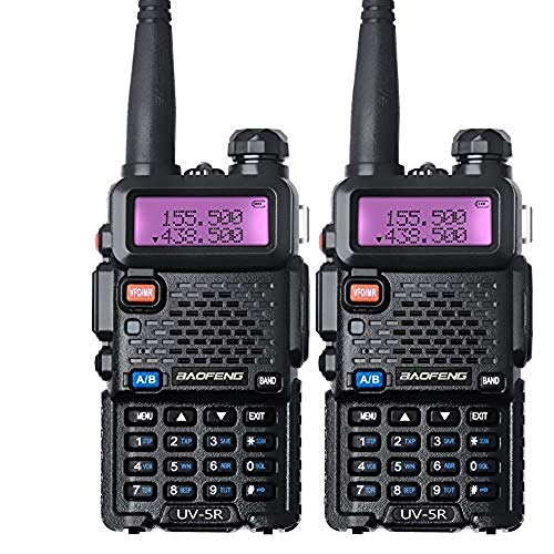 Baofeng Funkgerät VHF UHF Walkie Talkie 2m 70cm Amateurfunk mit Headet, Schwarz (2 Stücke)