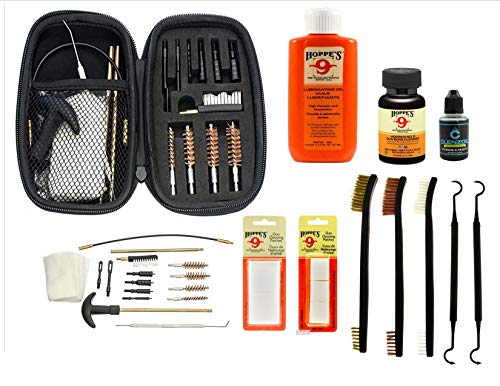 "EDOG Universal Handgun Cleaning Kit - .22 .357 .38 9mm .45 Caliber 17 Pc Pistol Cleaning Kit & 10 Pc Gun Accessories Essential Set Gun Oil, Gun Solvent, CLP Cleaner, 7"" Brush Pick Set & Lube Patches"