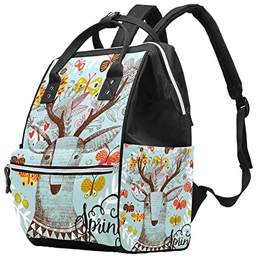 WJJSXKA Mochilas Bolsa de pañales Laptop Notebook Mochila de viaje Senderismo Daypack para Mujeres Hombres - animal deer florals