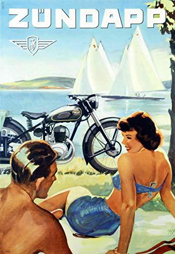 Metallschild Zundapp Motorrad Werbung Blechschild Vintage Höhle Bar Home Küche Wanddekoration Schild (20 x 30 cm)