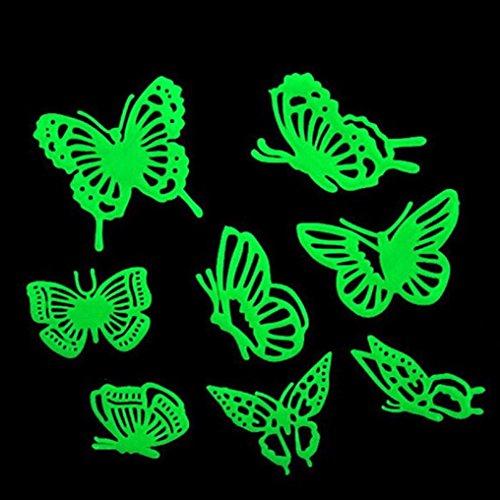 eenkula 8 Papillon Autocollant Mural DIY Noctilucent Lumineux Stickers Muraux Decal Home Decor