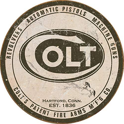 "Desperate Enterprises Colt Revolver - Round Logo Tin Sign, 11.75"" Diameter"