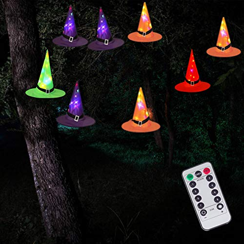 DAYLIGHTIR 8 Pack Witch Hat String Lights, 8 Lighting Modes, Battery-Powered Waterproof, Halloween Decorations for…